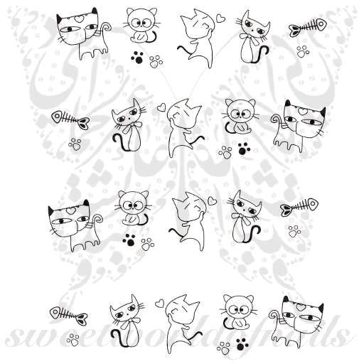 Cat Nail Art Cute Cat Nail Water Decals Water Slides