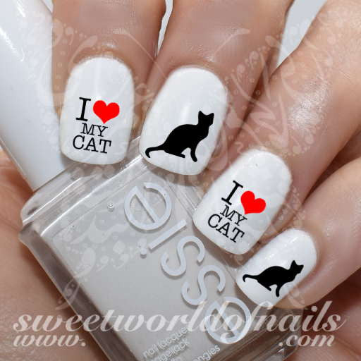 Cat Nail Art I love My Cat Nail Water Decals Water Slides