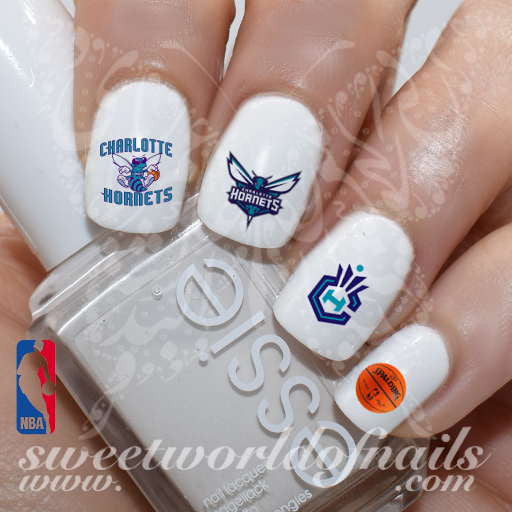 Charlotte Hornets Nail Art NBA Basketball Nail Water Decals Water Slides