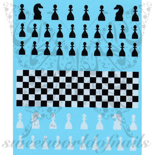 Chess Nail Art Chess Board Water Decals