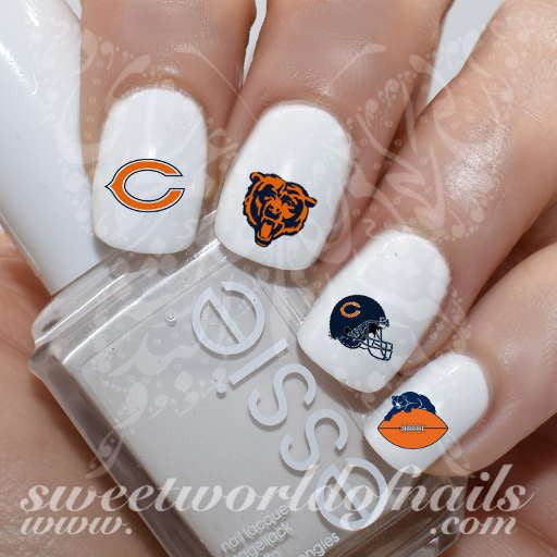Chicago Bears Nail Art NFL Nail Water Decals Slides