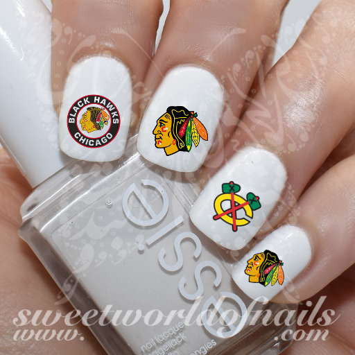 Chicago Blackhawks Nail Art NHL Nail Water Decals Slides