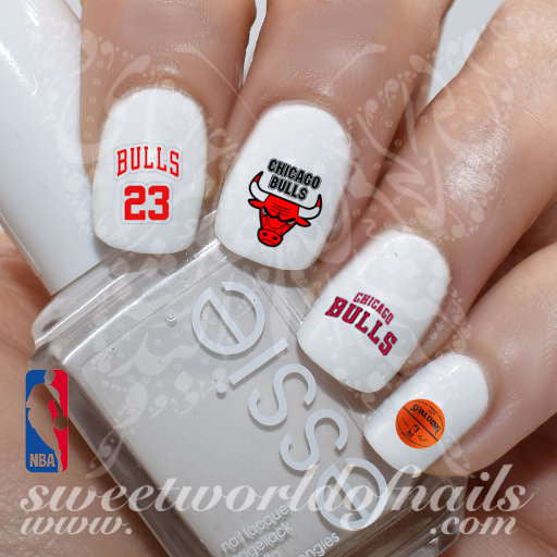 Chicago Bulls NBA Basketball Nail Art Water Decals Nail Transfers Wraps