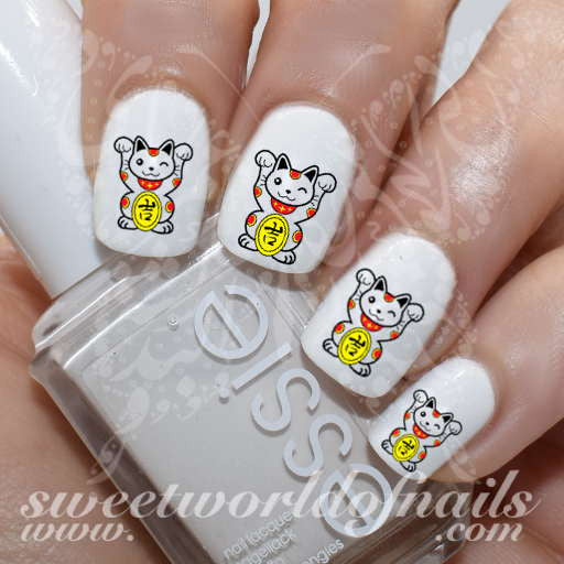 Chinese Lucky Cat Nail Art Nail Water Decals Water Slides