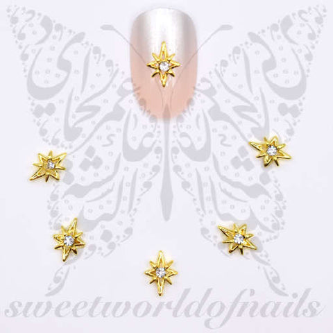 Size: 1cm*cm  Quantity: 2 pcs  Color: Gold   Application: Apply a few drops of nail glue on finished manicure and place the charms on the desired area.