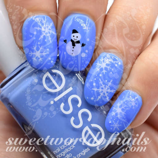 Christmas Nail Art Snowman White Snowflakes Nail Water Decals Water Slides