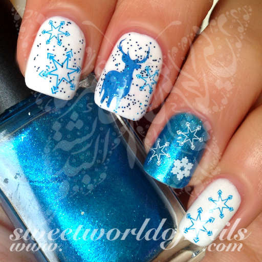 Christmas Nail Art blue and white snowflakes Blue reindeer Water Decals Water Slides