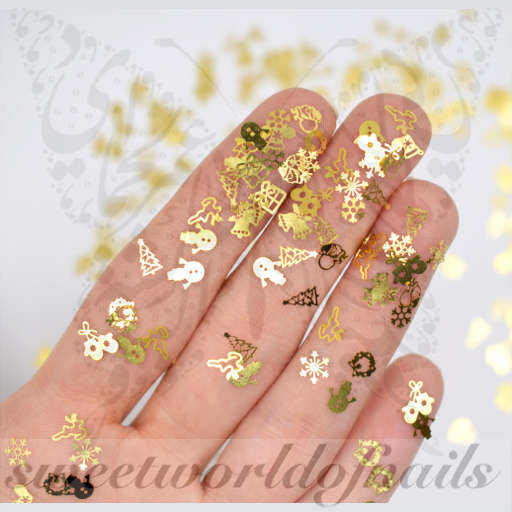 Christmas Nail Art Mix 3d Metallic Thin Nail Decoration 12 Designs