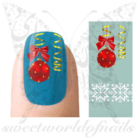 Christmas Nail Art Water Decals Christmas Lights and White Christmas Pattern