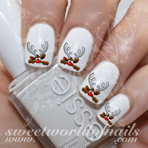 Christmas Nail Art Cute Hiding Reindeer Nail Water Decals Water Slides