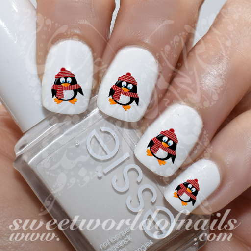 Christmas Penguin Nails: Christmas Nails Cute Penguin Nail Water Decals