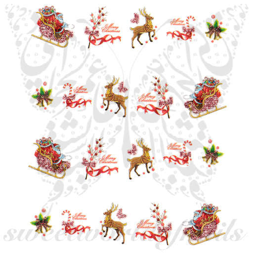 Christmas Nail Art Glittery Reindeer Santa Sleigh Nail Water Decals Transfers