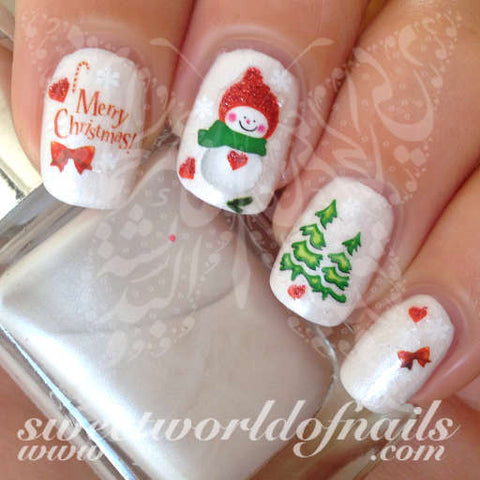 Christmas Nail Art Glittery Snowman Merry Christmas Tree Ribbon Nail Water Decals Water Slides