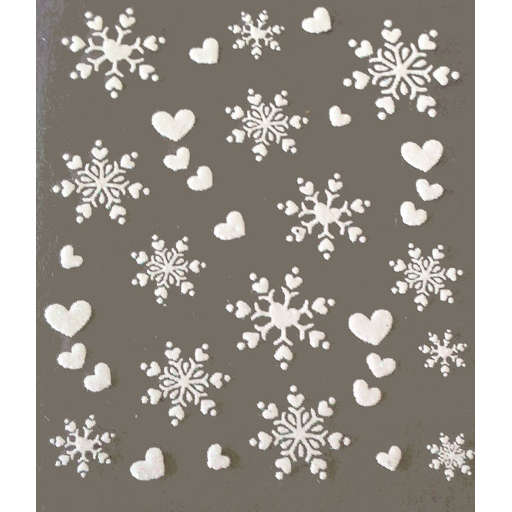 Christmas Nail Art Glittery White Snowflakes Stickers