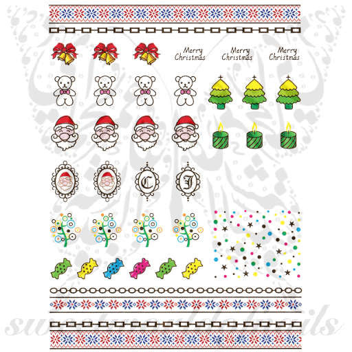 Christmas Nail Art Gold Merry Christmas Tree Santa Bells Nail Water Decals