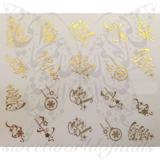 Christmas Nail Art Gold Merry Christmas Tree Stars Lights