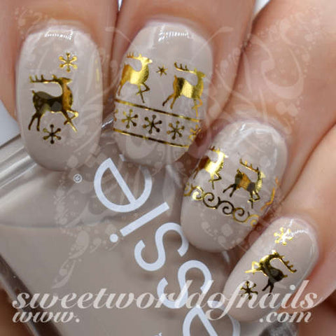 Christmas Nail Art Gold Reindeer and Snowflakes Nail Water Decals