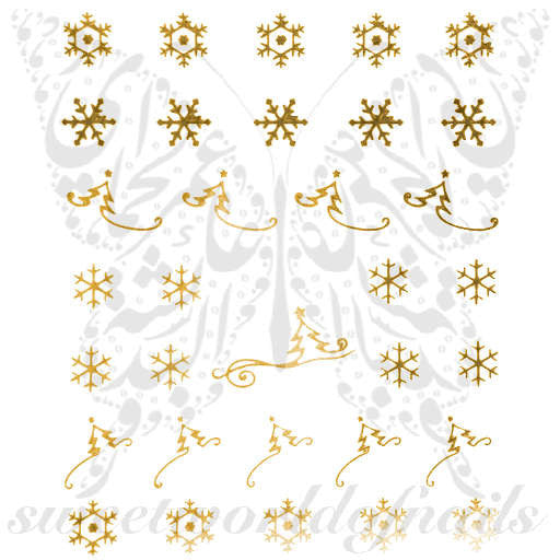 Christmas Nail Art Gold Snowflakes Christmas Tree Nail Water Decals Water Slides