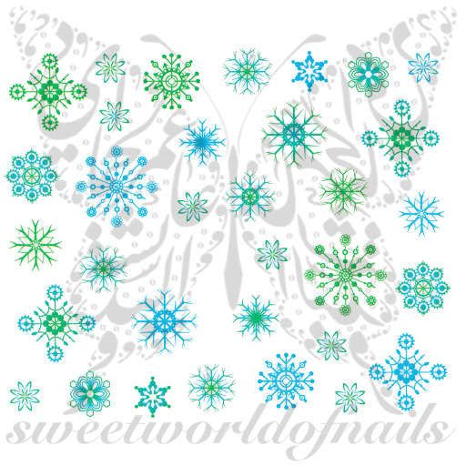 Christmas Nail Art Green and Blue Snowflake Nail Water Decals