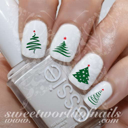 Christmas Nail Art Christmas Tree Water Decals Slides - Christmas Tree Nail Art Water Decals
