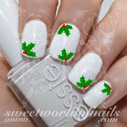 Christmas Nail Art Holly Water Decals Wraps