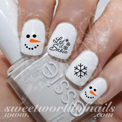 Let It Snow Nail Art Water Decals