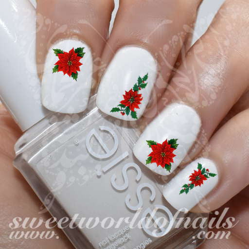 Christmas Nail Art Poinsettia Nail Water Decals Water Slides