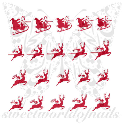 Christmas Nail Art Red Santa Sleigh Reindeer Nail Water Decals