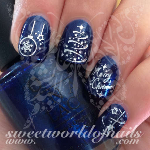 Silver Merry Christmas Nail Art