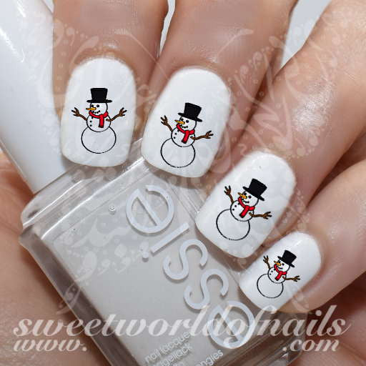 Christmas Nail Art Snowman Water Decals Slides