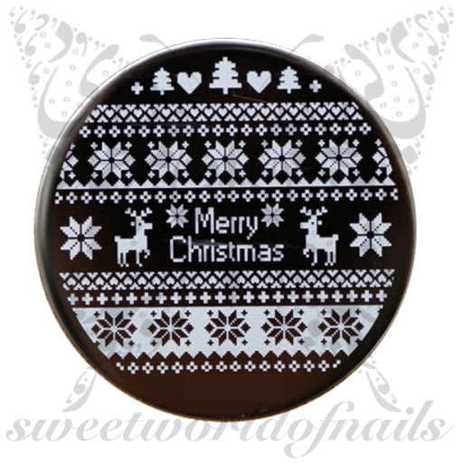 Christmas Nail Art Stamping Plate Pattern Reindeer Template