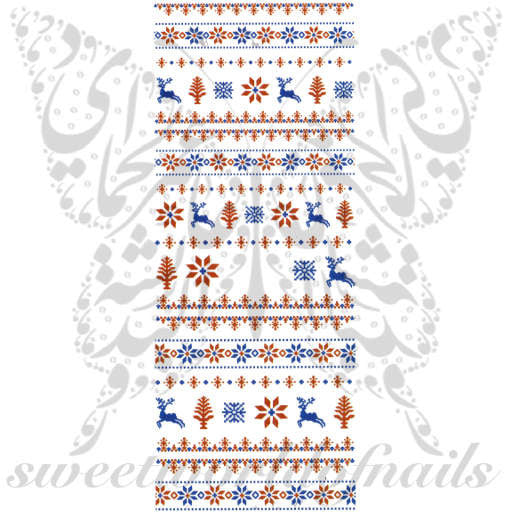 Christmas Red Blue Reindeer Nail Art Water Decals