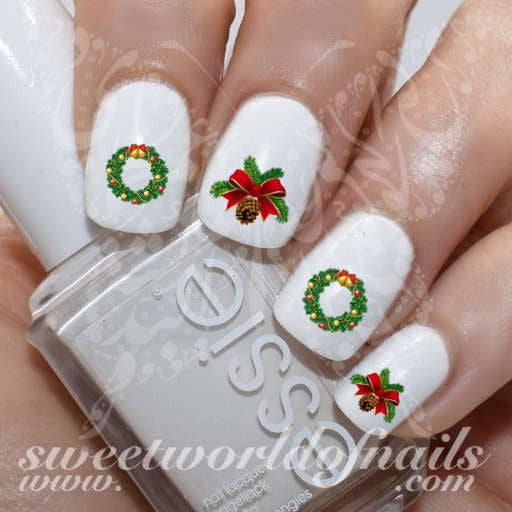 Christmas Nail Art Pine Twigs Garland Water Decals