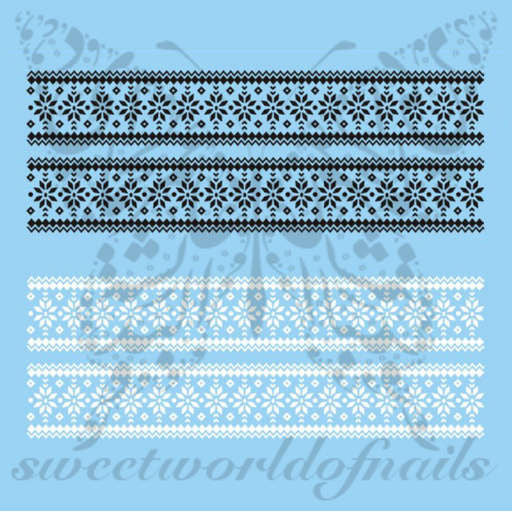Christmas Nail Art Sweater Knit Pattern White and Black Nail Water Decals