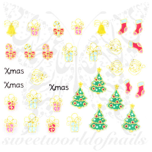 3D Metallic Christmas Nail Art Stickers Santa Tree Presents