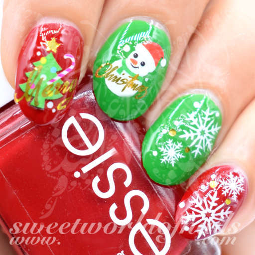 Christmas Nails Snowman Tree Snowflakes Water Decals