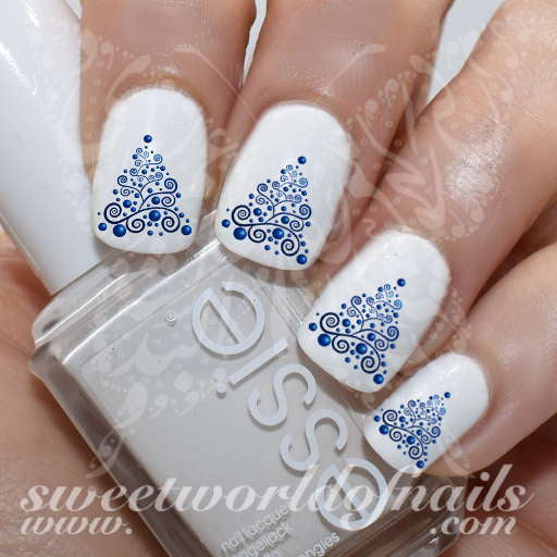 Christmas Nails Blue Tree Water Decals