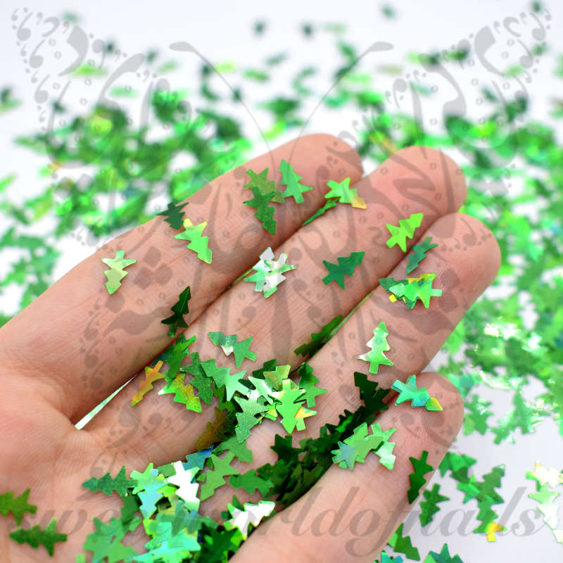 Christmas Nails Green Tree Confetti