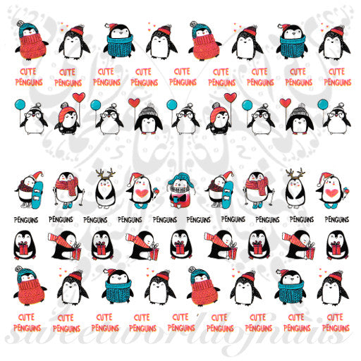 Christmas Nails Cute Penguin Nail water decals