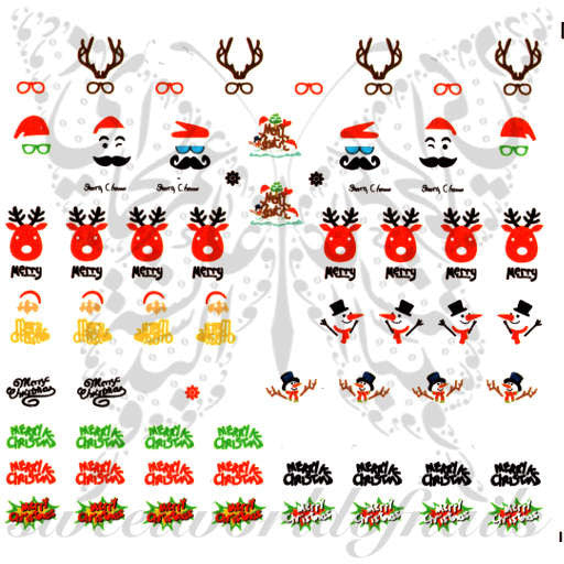 Christmas Nails Reindeer Snowman Nail Water Decals
