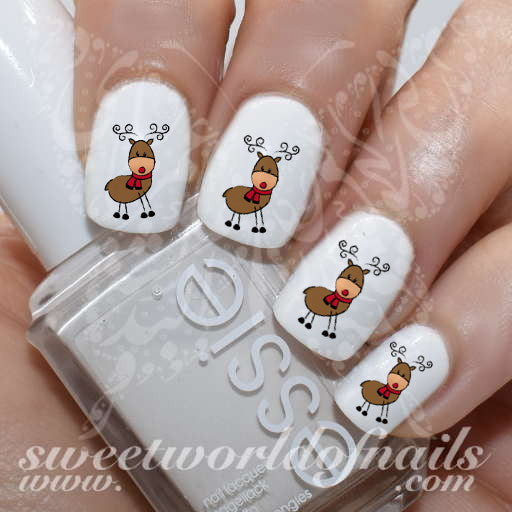 Christmas Nails Cute Reindeer Nail Water Decals