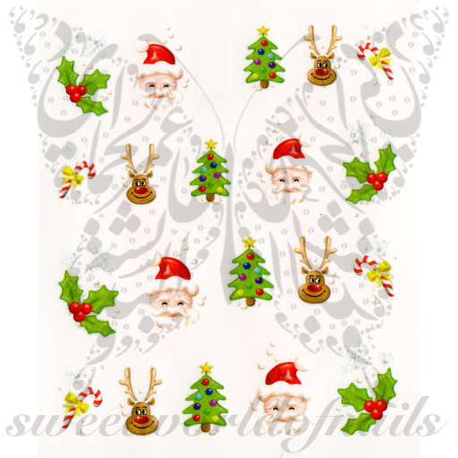 Christmas Nail Art Santa Tree Reindeer Nail Water Decals