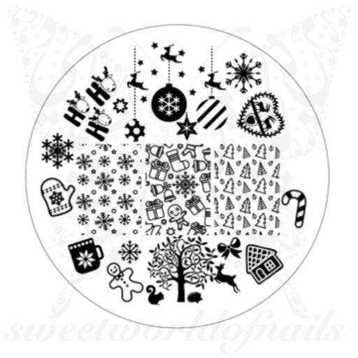 Christmas Nail Art Acrylic Stamping Plate Snowflakes and trees