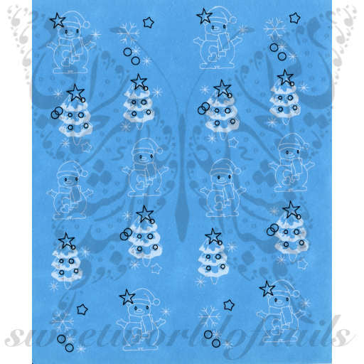 Christmas Nail Art Snowman Nail Water Decals