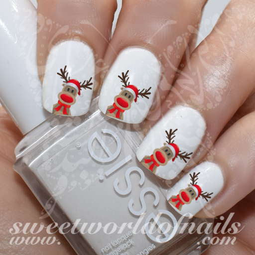 Christmas Nail Art Rudolph The Reindeer Nail Water Decals