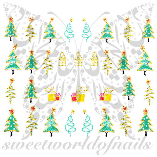 Christmas Tree Nail Art Stickers