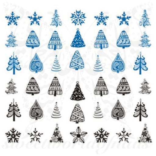 Christmas Nails Blue and Black Christmas Tree Decals