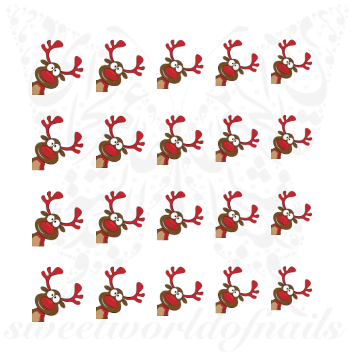 Christmas Nails Reindeer Red Nose Water Decals