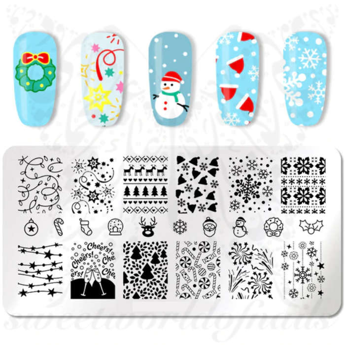 Christmas Stamping Plate Holiday Pattern