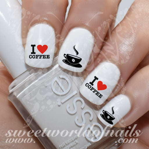 I Love Coffee Nail Art Water Decals Slides